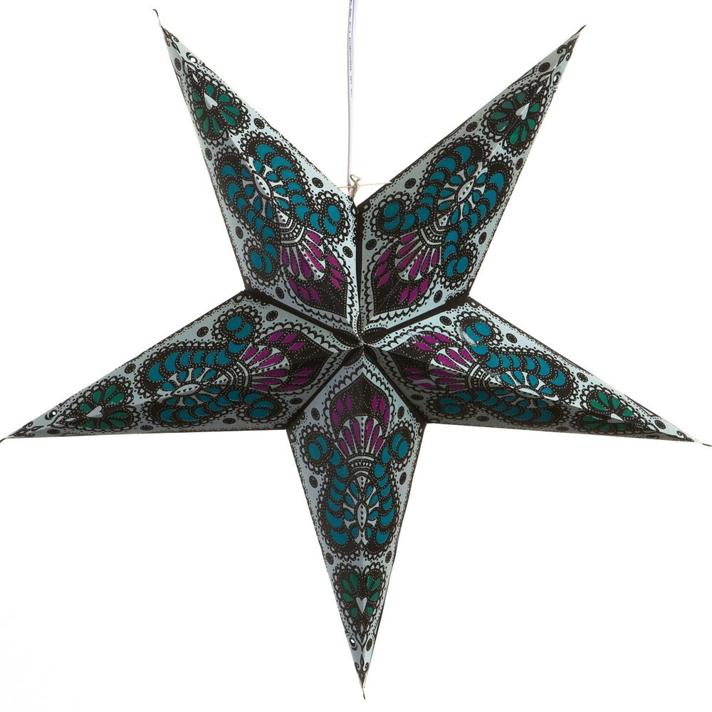 Peacock blue paper star light lamp lantern with 12 foot for Paper star lamp