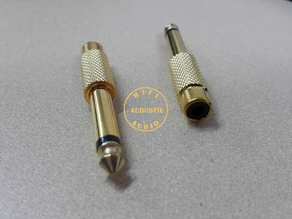 2 X Rca Female To 6 3mm 1 4 Quot Mono Male Audio Adapter Gold