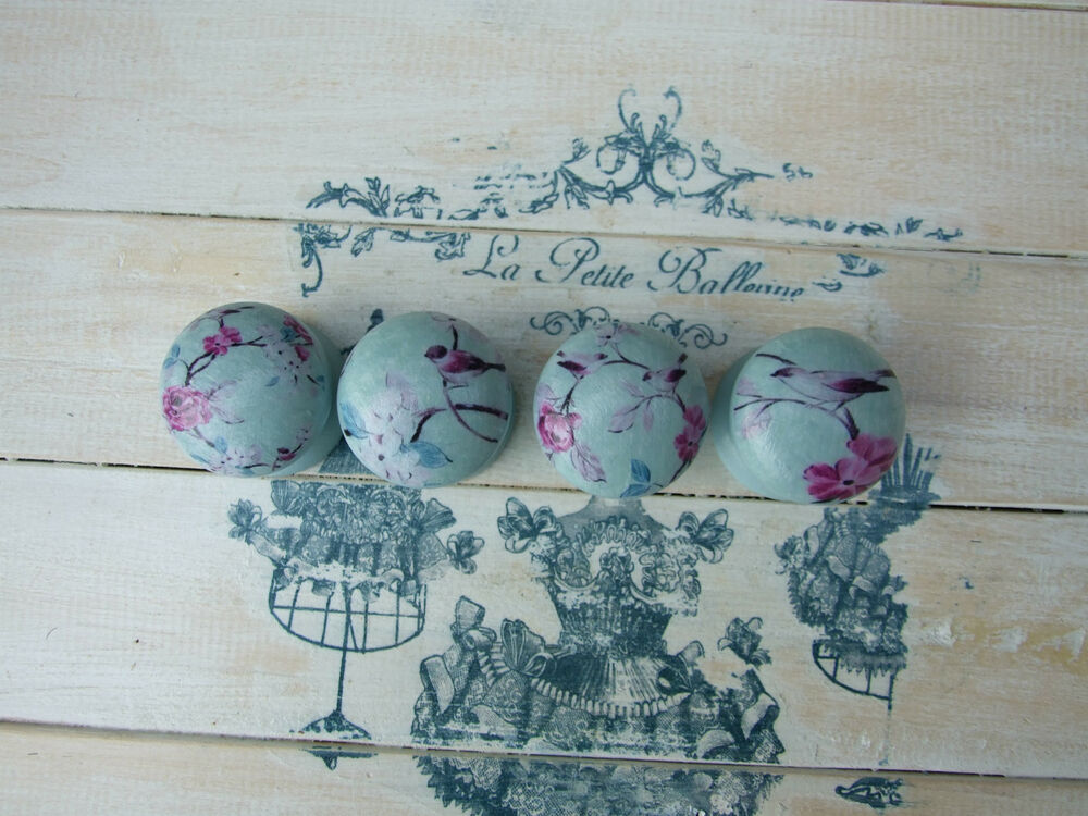 blue bird 39 shabby chic 39 style knobs for cupboards drawers ebay. Black Bedroom Furniture Sets. Home Design Ideas