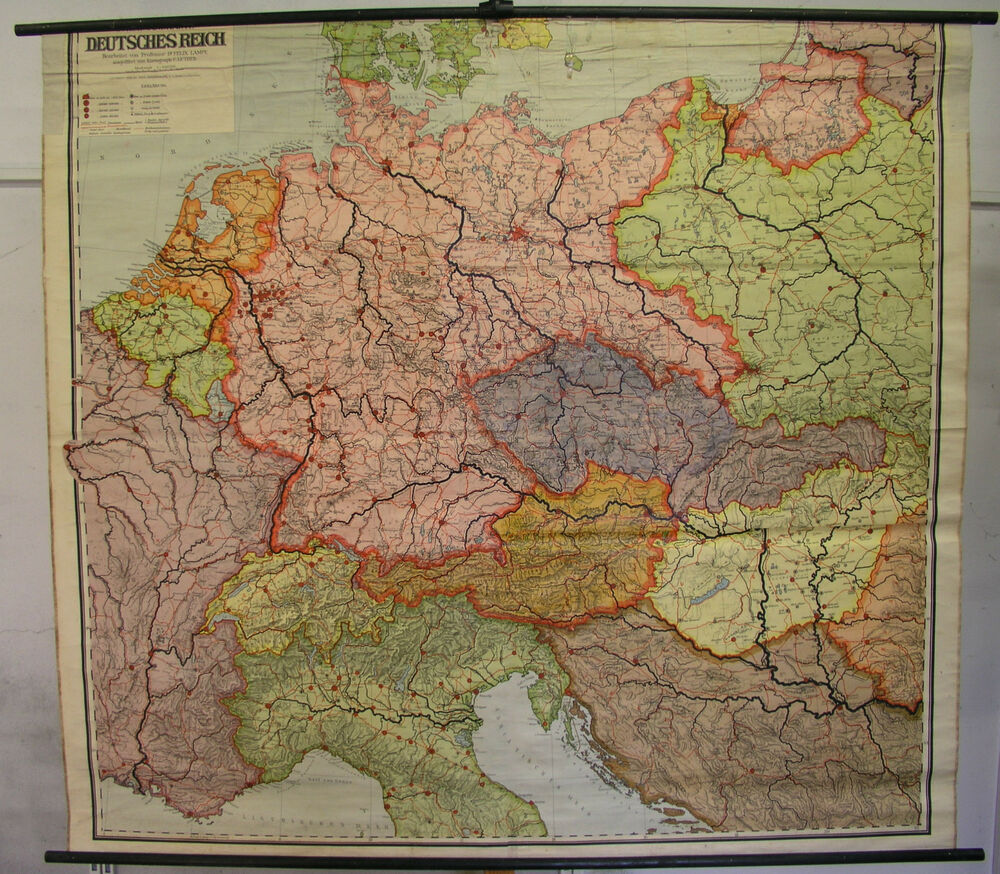 schulwandkarte gro deutschland deutsches reich 1937 1939 201x183cm vintage map ebay. Black Bedroom Furniture Sets. Home Design Ideas