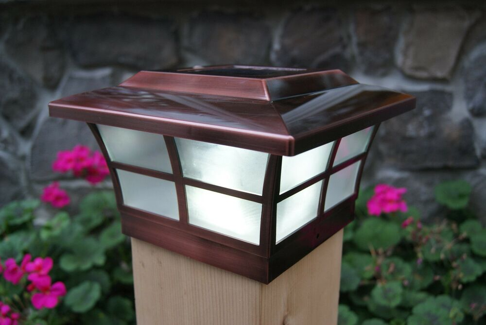 SOLAR POST CAP LED DECK FENCE LIGHTS 6X6 COPPER