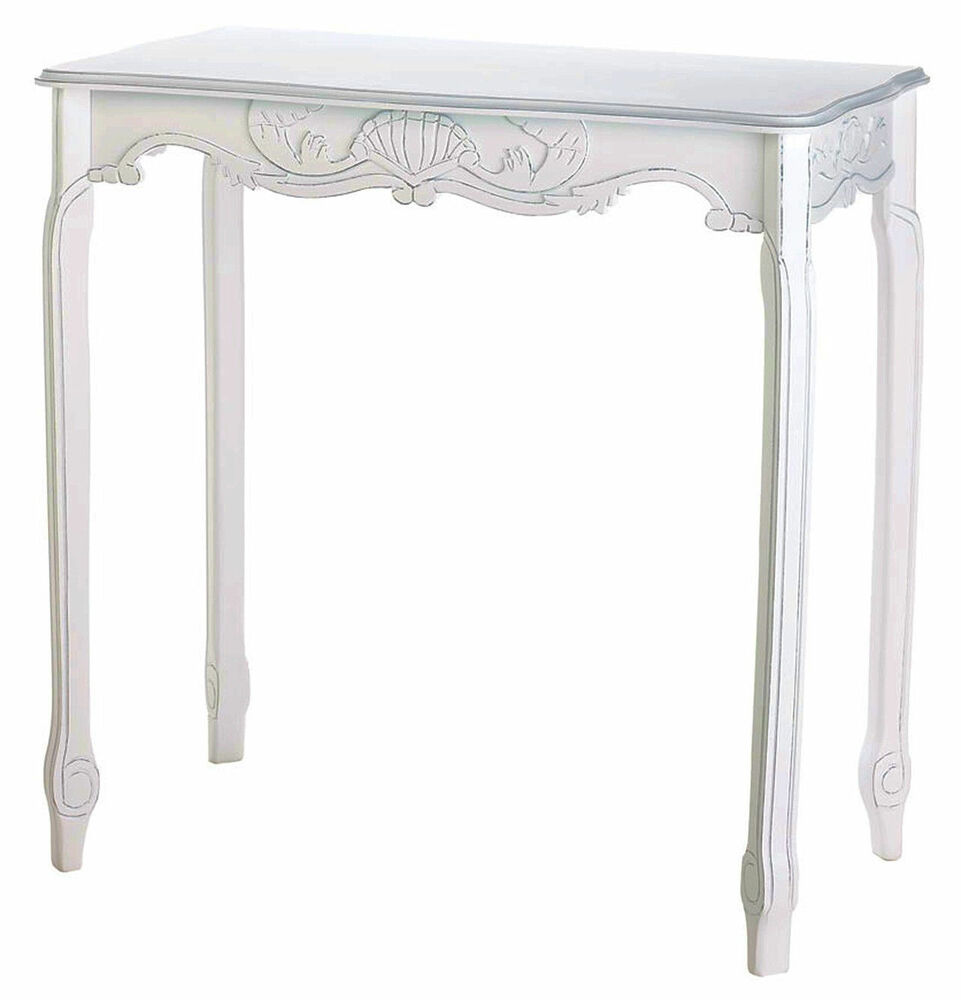 Carved Distressed Wood White Hallway Nautical Console