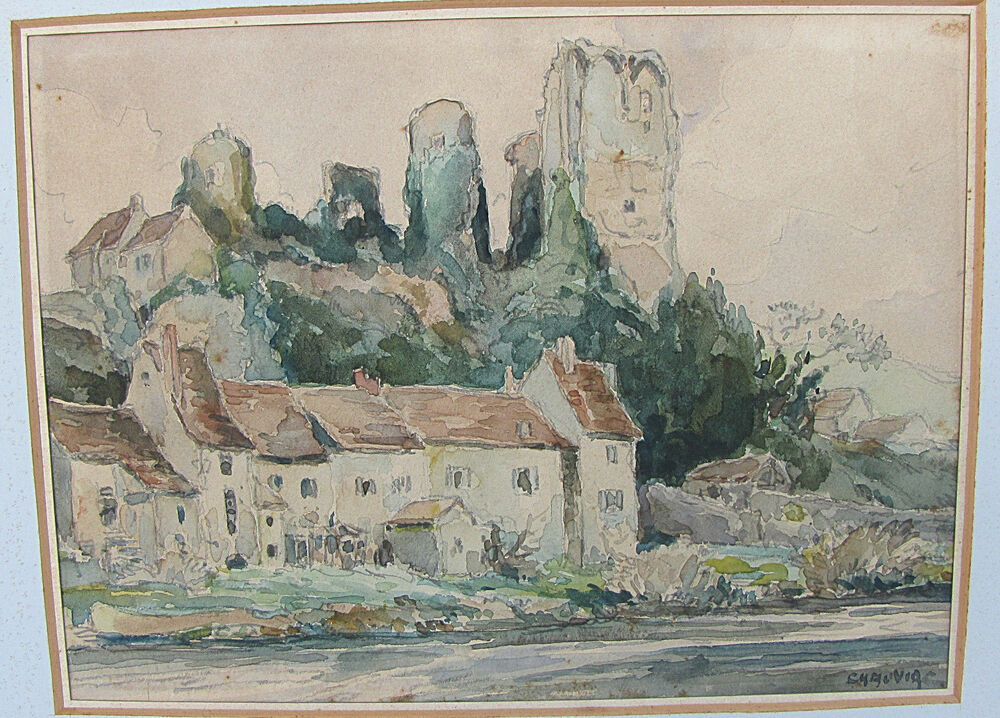 ludovic chauviac french artist antique watercolor drawing
