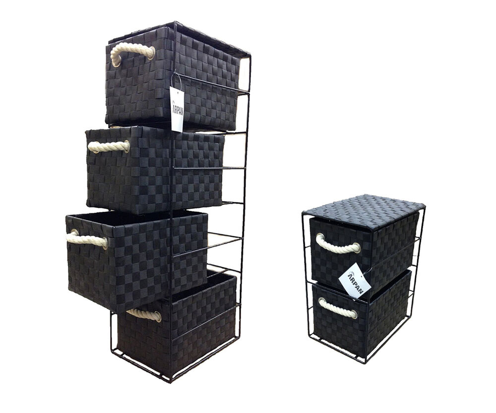 Black 2 Or 4 Drawer Polypropylene Tower Storage Unit