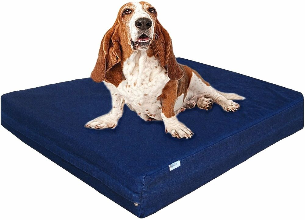 Luxury Memory Foam Dog Waterproof Bed Blue Denim Cover