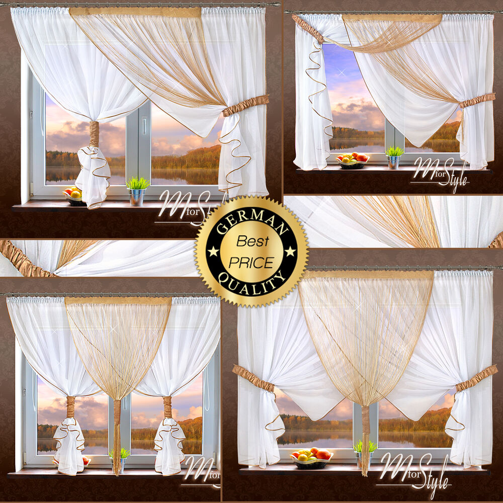 german voile curtain with string panel ready made tiebacks included ebay. Black Bedroom Furniture Sets. Home Design Ideas