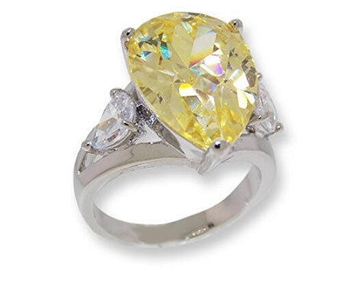 cubic zirconia wedding rings that look real the look of real 5ct yellow canary pear amp clear cubic 3221