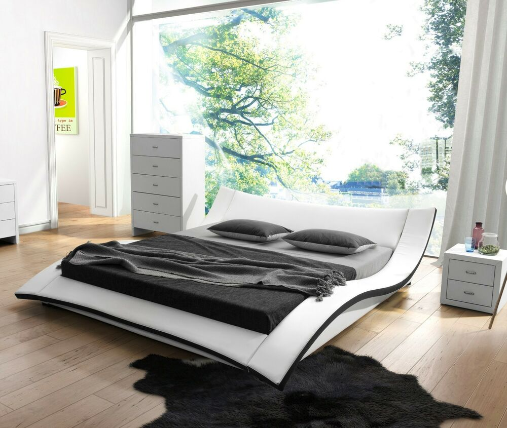 Modern White Faux Leather Platform Bed Queen East King