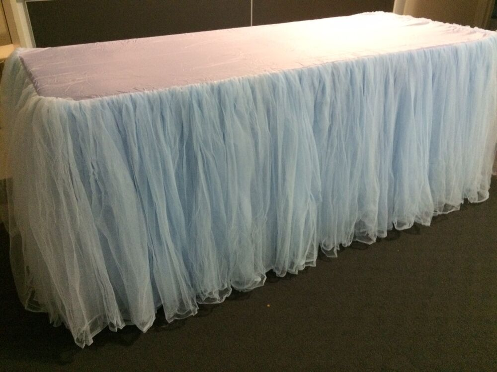 light baby blue tulle tutu table skirt with top cloth for