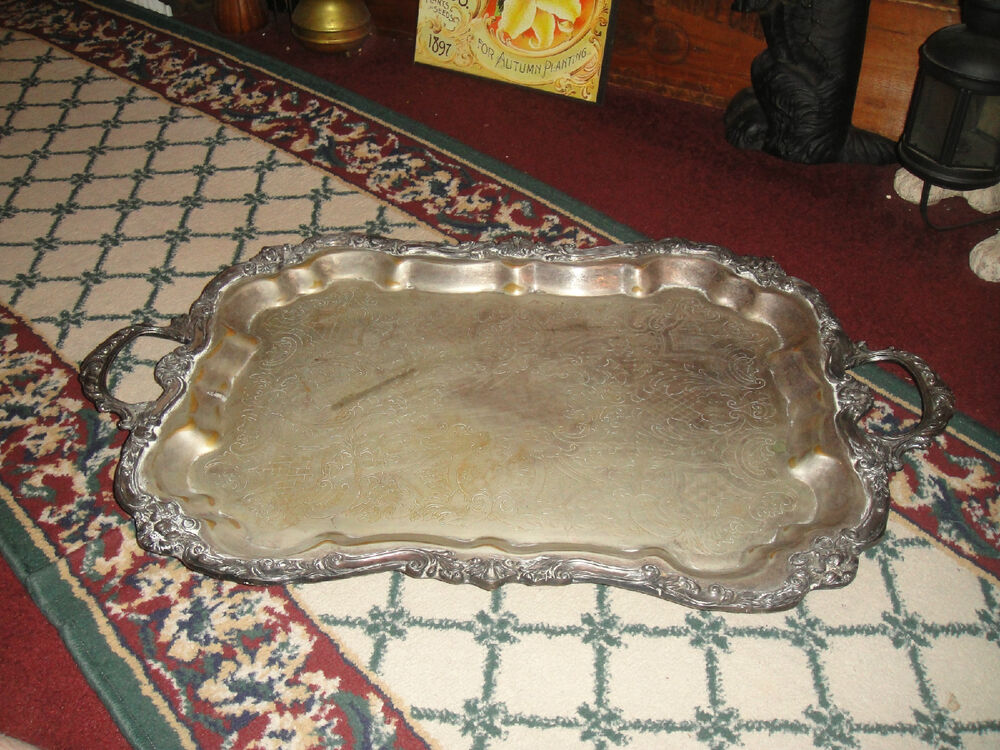 vintage aluminum trays antique silver metal serving tray large 3156