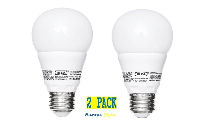 new ikea 2 pack ryet led e26 globe opal 400 lumen 2700 kelvin light bulbs ebay. Black Bedroom Furniture Sets. Home Design Ideas