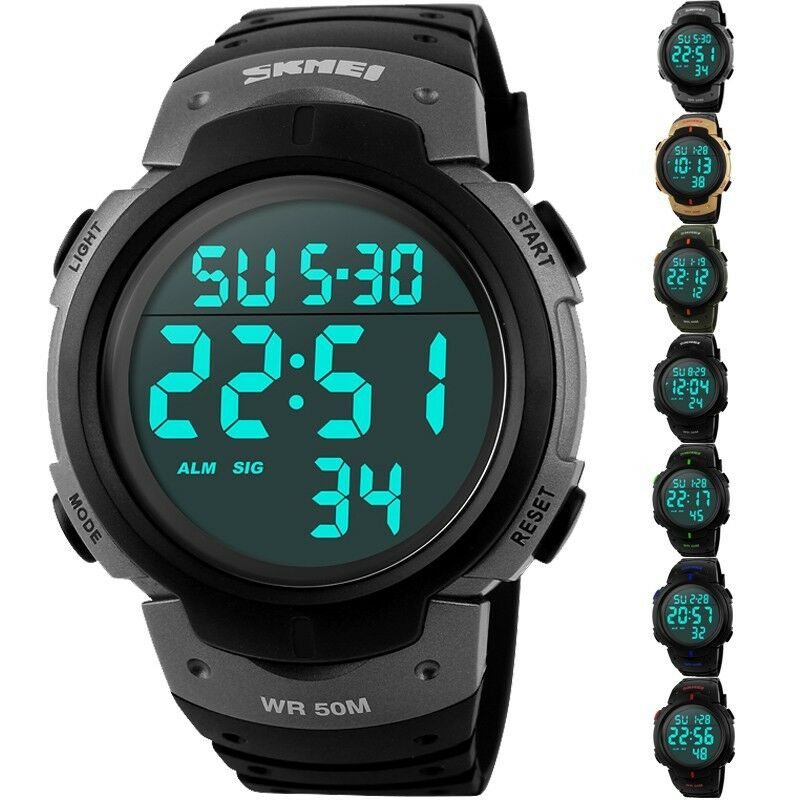 SKMEI Waterproof Men's Boy LED Silicone Digital Stopwatch ...