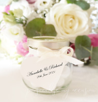 Personalised Heart Shaped Wedding Favour Tags - Ivory Cream, Names and Date