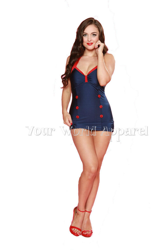 ESTHER WILLIAMS NAVY BLUE AND RED ONE PIECE SHEATH ...