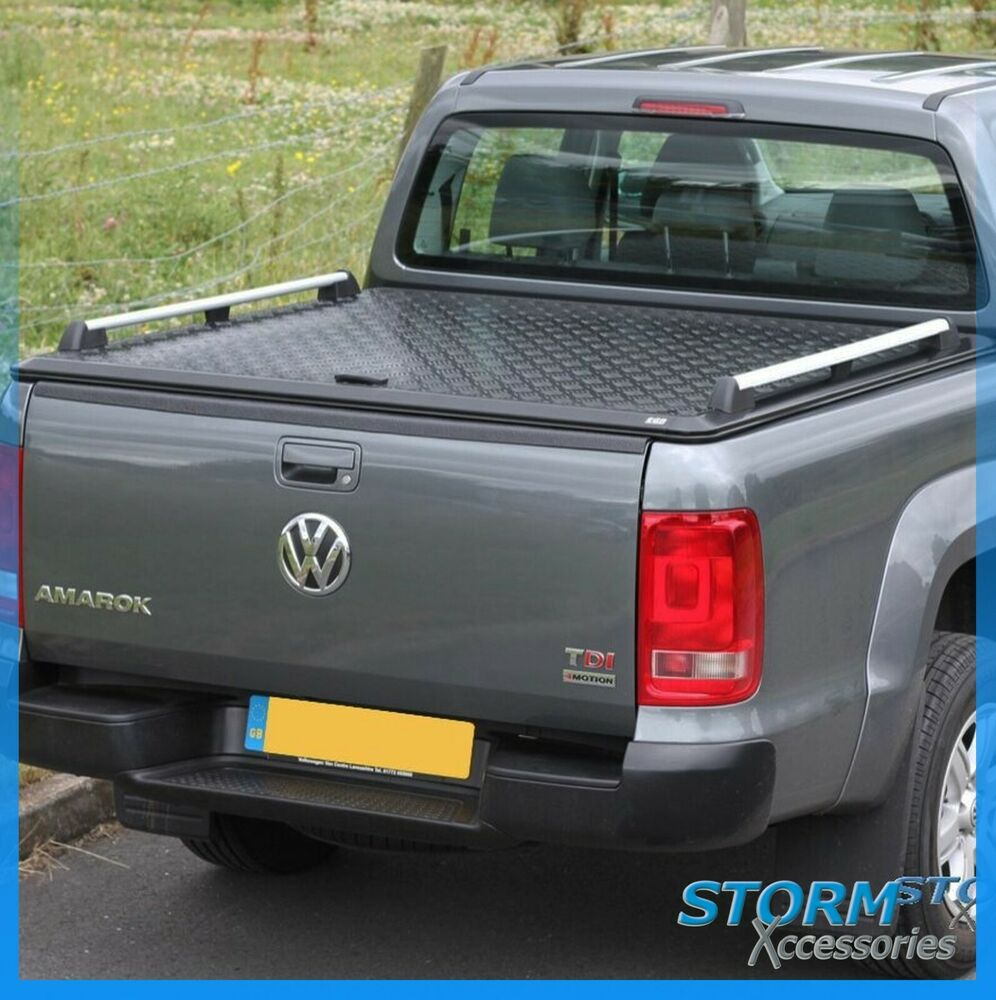 vw amarok double cab egr aluminium chequer plate tonneau cover hard top in black ebay. Black Bedroom Furniture Sets. Home Design Ideas