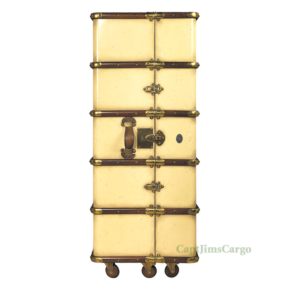 """Stateroom Armoire Ivory Steamer Travel Trunk 51"""" Nautical"""