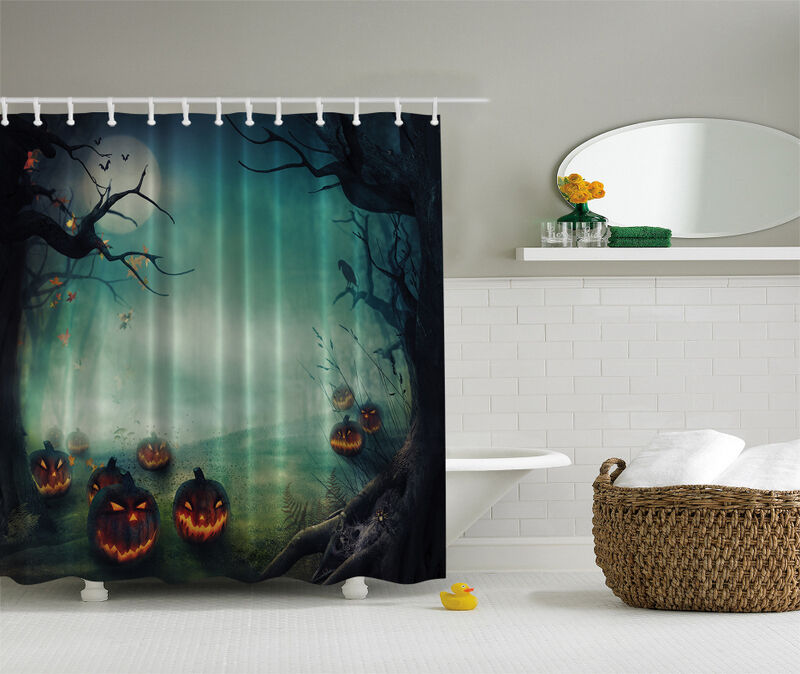 HALLOWEEN FIELD OF SCARY PUMPKINS NEW 70 Fabric Bathroom