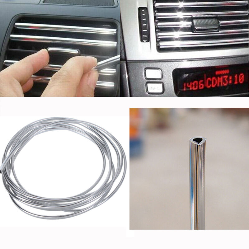4m diy silver car interior decor door chrome moulding trim strip u style ebay. Black Bedroom Furniture Sets. Home Design Ideas