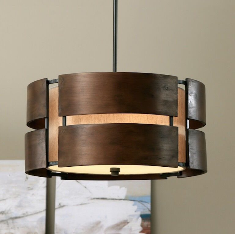 Chandelier 3 light rustic walnut wood pendant modern for Mid century modern pendant light fixtures