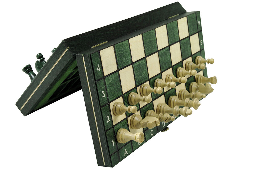 travel magnetic wooden chess set wood folding green ebay