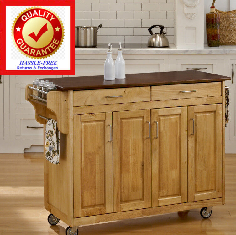 Rolling Kitchen Island Cart Natural Finish Solid