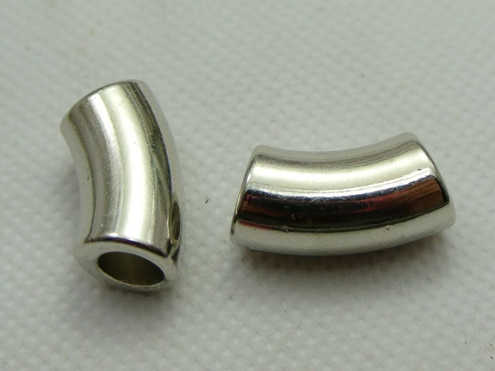Silver tone metallic acrylic curved tube beads spacer