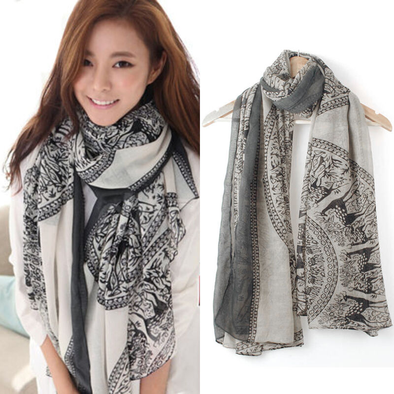 vintage soft neck large scarf wrap shawl cotton
