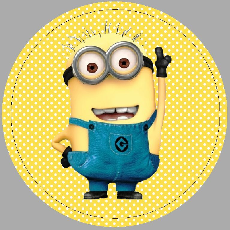24 X 40mm Round Stickers Not Personalised Minion Yellow