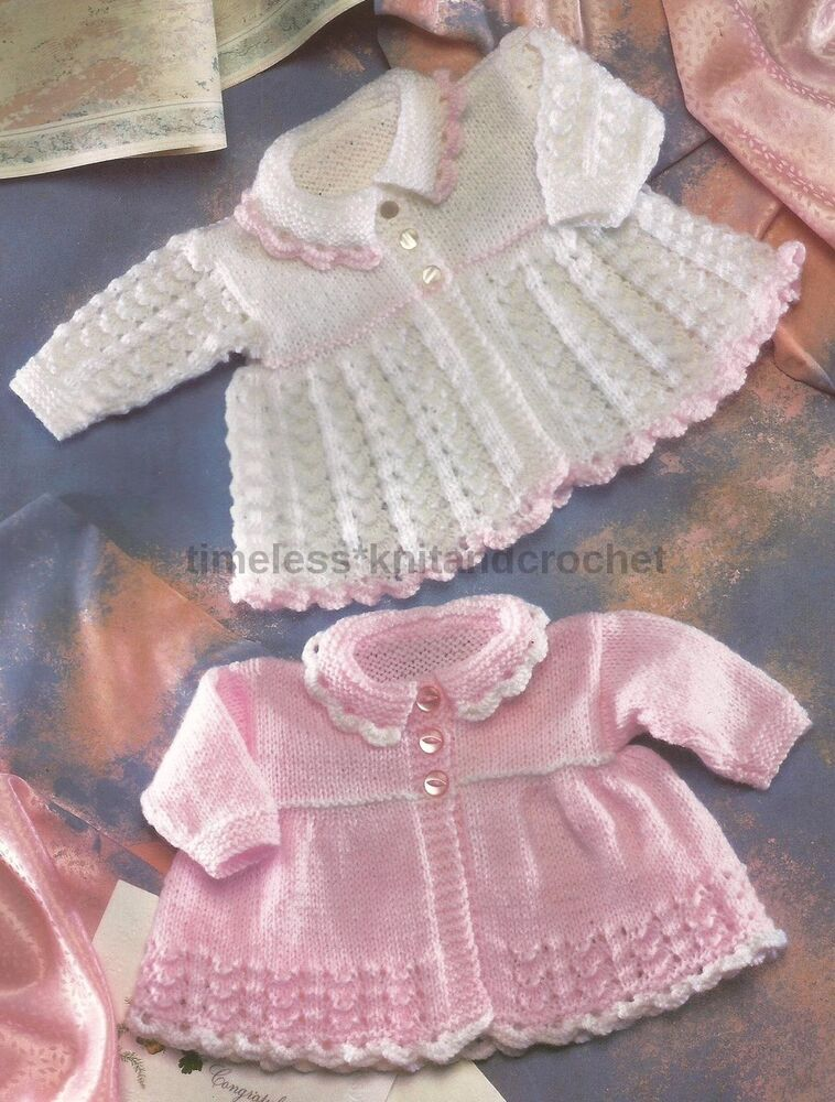 Knitting Patterns For Very Premature Babies : VINTAGE KNITTING PATTERN FOR PRETTY MATINEE COATS FOR PREMATURE BABIES / BABY...