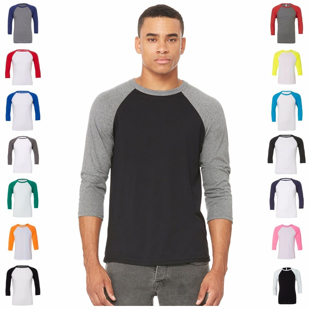 Mens womens 3 4 sleeve raglan baseball triblend casual t for Baseball button up t shirt dress