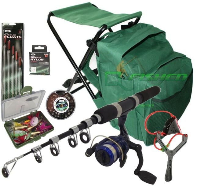 Telescopic Kids Fishing Set Stool Bag Rod Amp Reel Kit