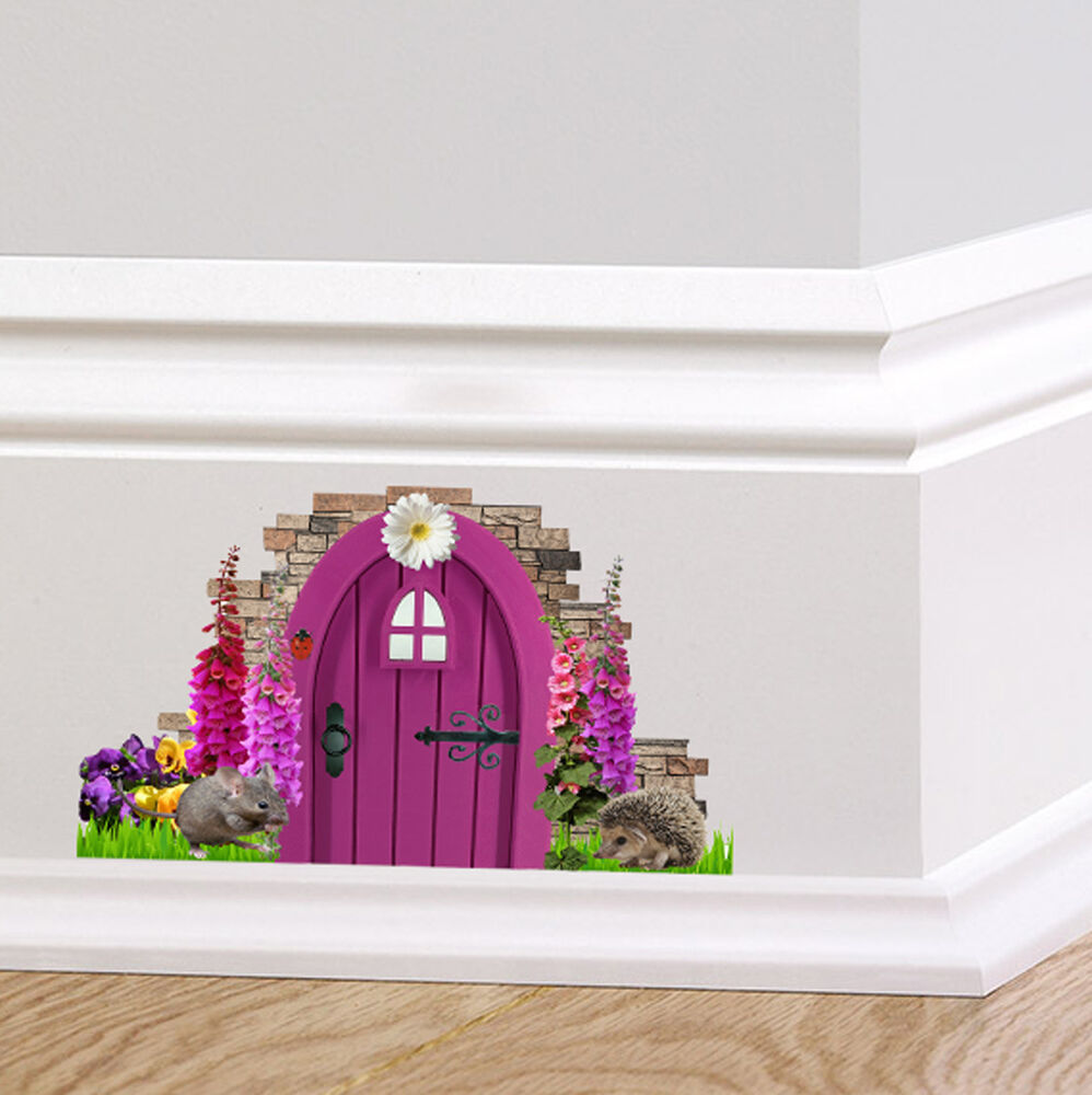 Purple fairy pixie door wall art sticker decal decor cute for Fairy door for wall