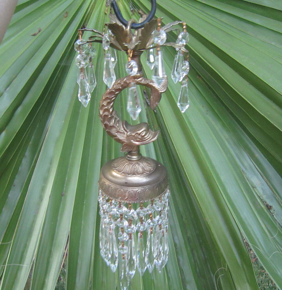 1of2 Vintage Hanging Dolphin Fish Serpent Lamp Chandelier