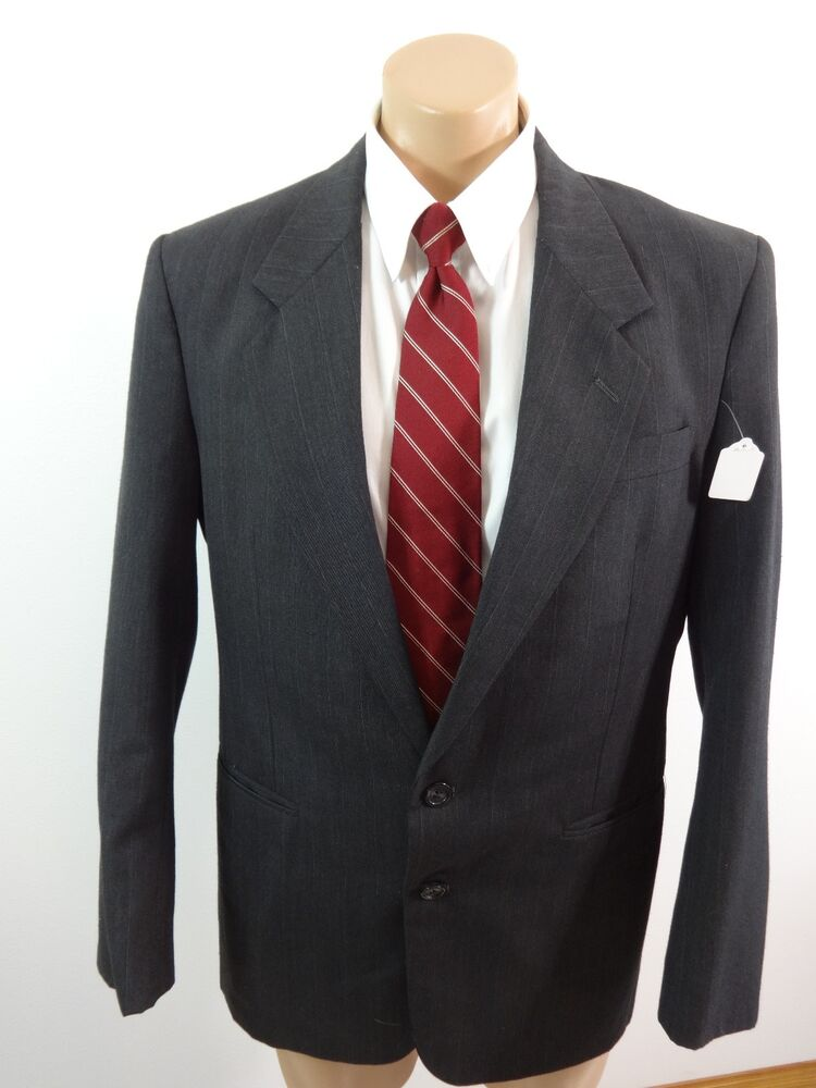 HUNTING HORN MENS CHARCOAL PINSTRIPE WOOL BLEND SUIT ...