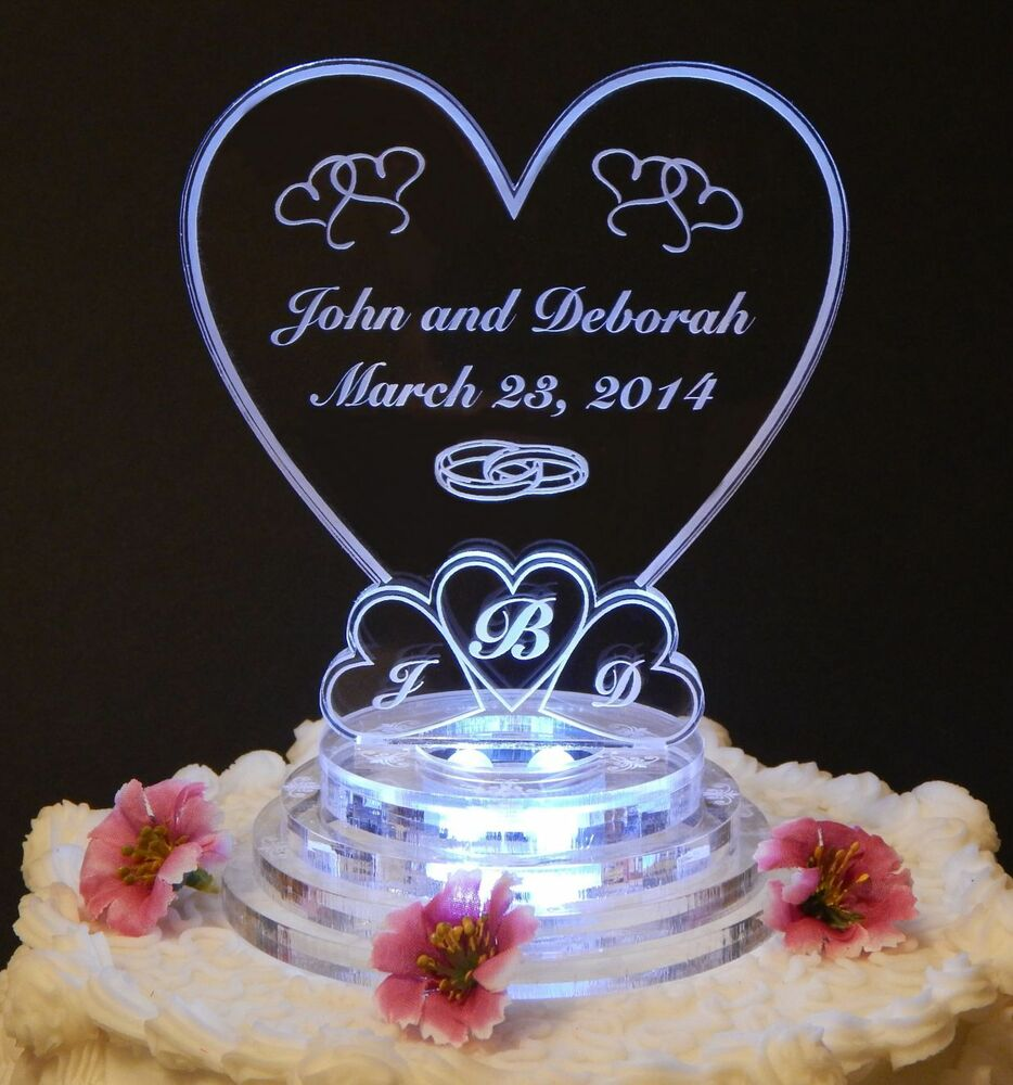 Monogram Heart Lighted Wedding Cake Topper Acrylic Cake