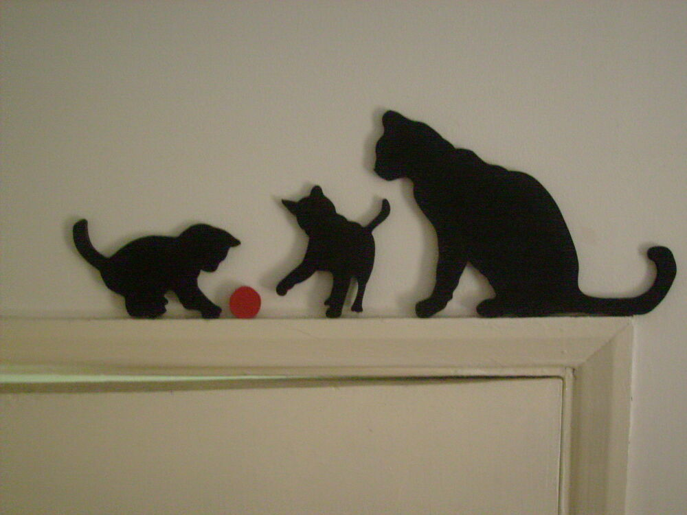 Cat Amp Kittens Playing Door Topper Wooden Silhouette Wall