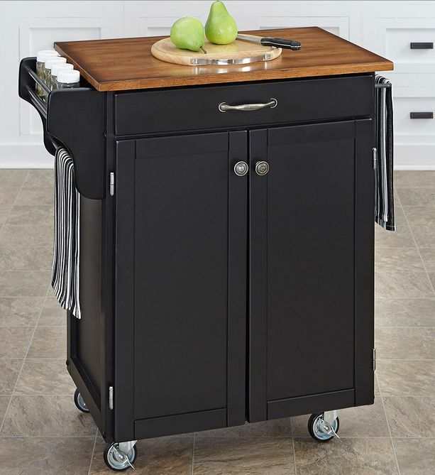 Kitchen Island Rolling Storage Utility Cabinet Wood Top