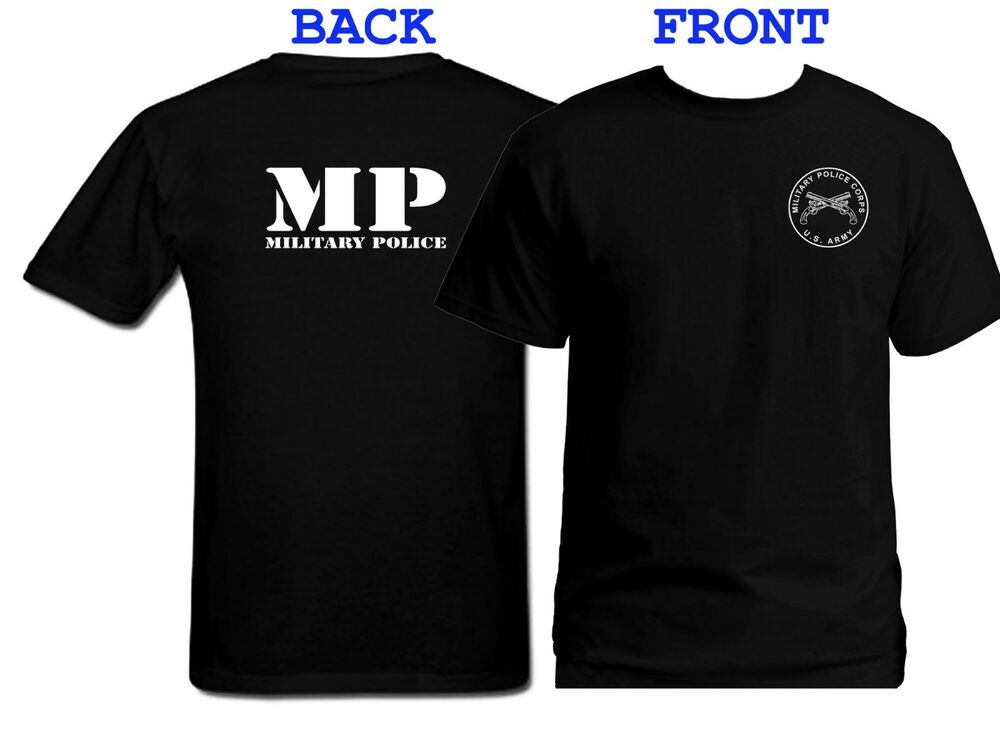 Us army military police mp front back print black for Shirts with graphics on the back