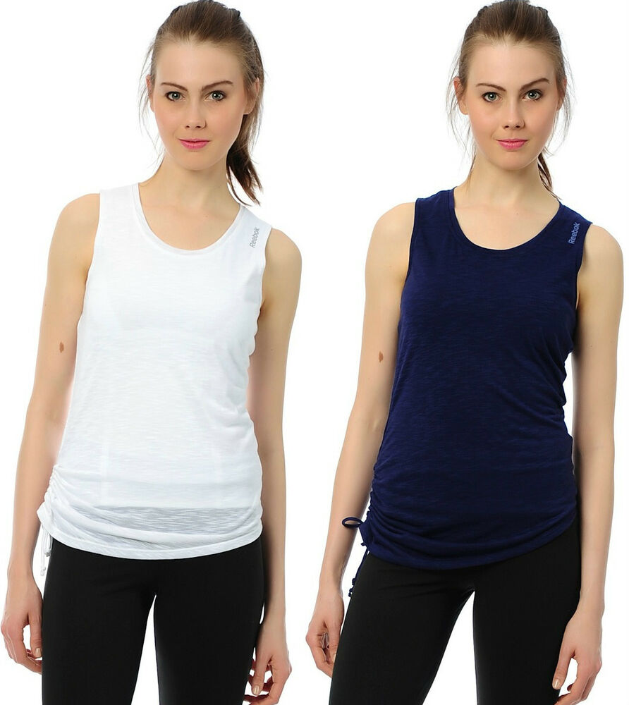 New reebok vest top sleeveless t shirt ladies womens girls for Best fitness t shirts