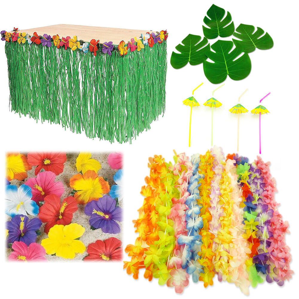 Hawaiian Luau Party Bundle Pack Set Hibiscus Table Skirt