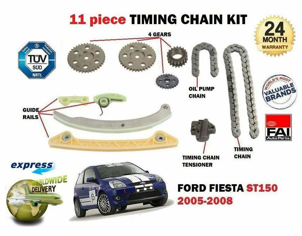 for ford fiesta st150 2 0 n4jb 3 2005 2008 new 11 piece timing cam chain kit ebay. Black Bedroom Furniture Sets. Home Design Ideas