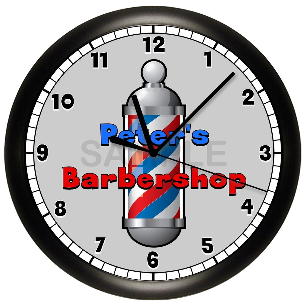 barber shop wall clock hair barbershop personalized cut. Black Bedroom Furniture Sets. Home Design Ideas