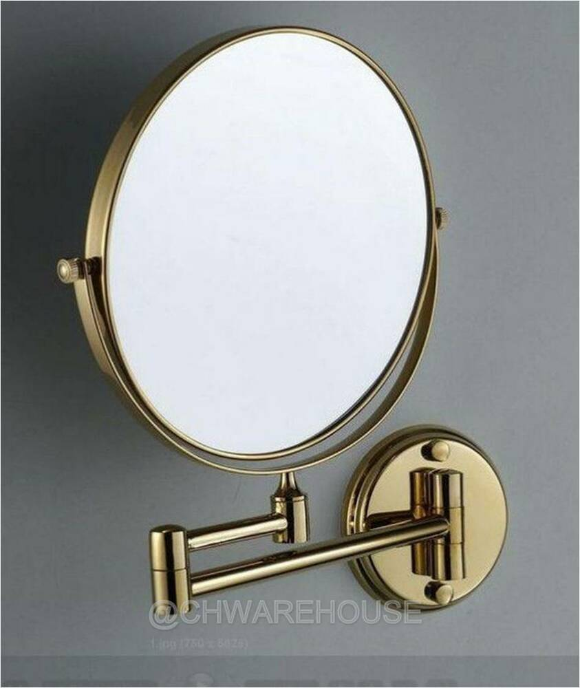 Gold 8 Magnifying Mirror For Bath Makeup Wall Mounted Swing Arm 7x 2 Sided Ebay