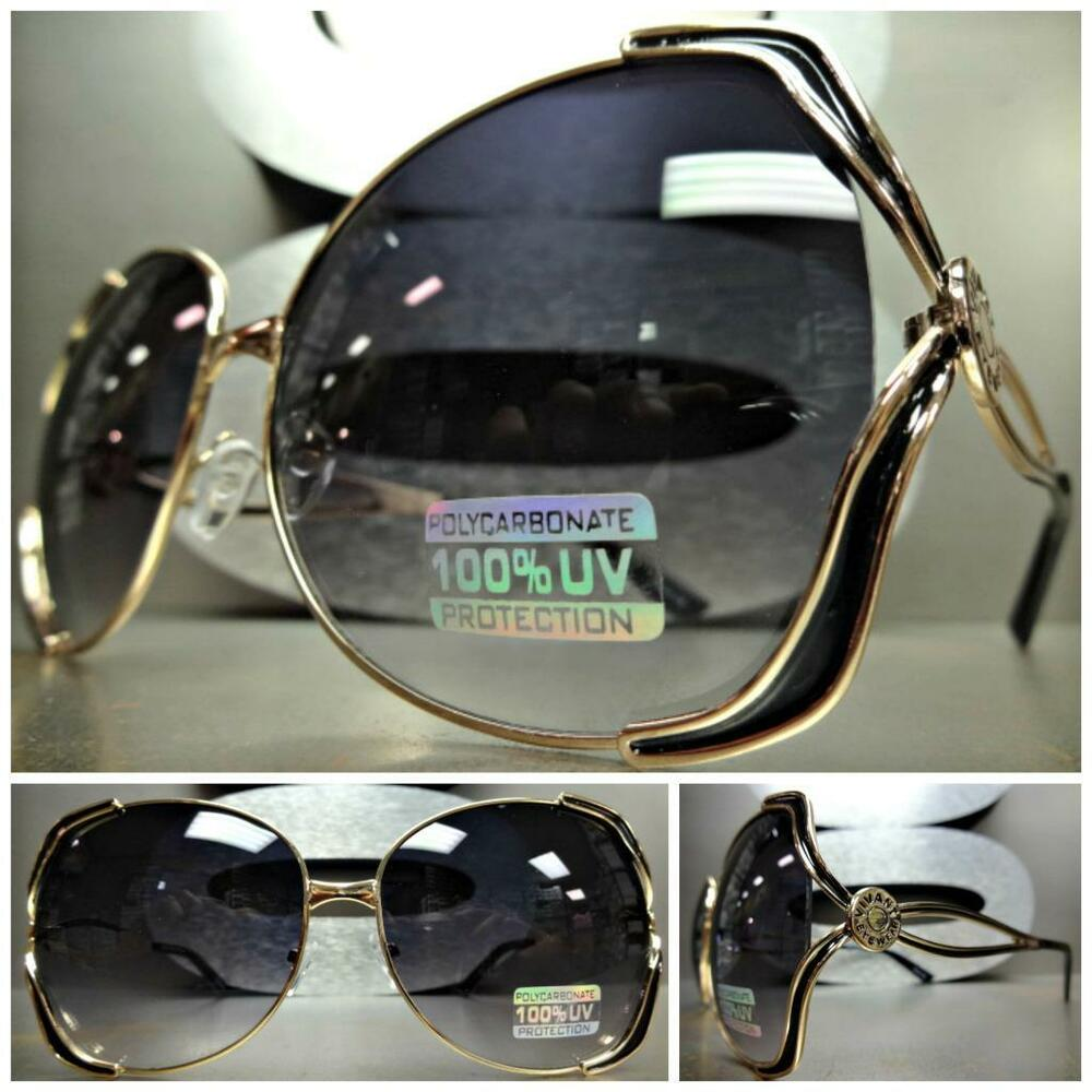 Big Gold Frame Sunglasses : OVERSIZE LARGE VINTAGE RETRO Style SUNGLASSES BOLD FASHION ...