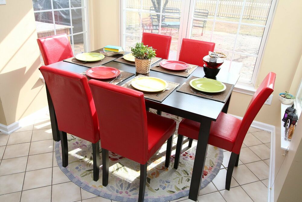 7pc espresso dining room kitchen set table 6 red parson chairs 7