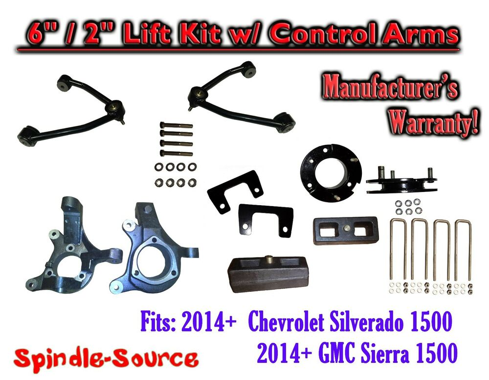 2014 chevy silverado gmc sierra 1500 6 2 spindle 2wd lift kit control arms ebay. Black Bedroom Furniture Sets. Home Design Ideas