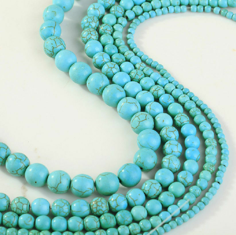 20mm Bead Beads: New Blue Turquoise Gemstone Round Loose Bead Beads 4mm