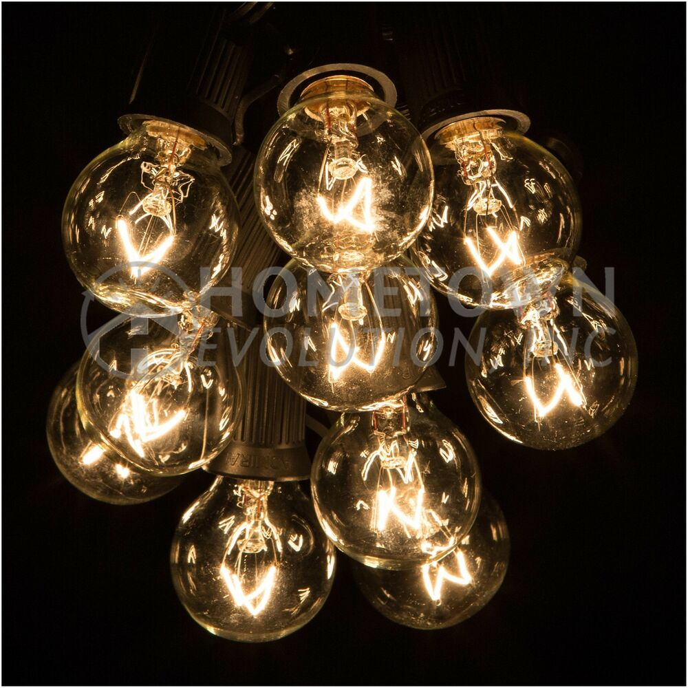 25 Foot Outdoor Globe Patio String Lights - Set of 25 G30 Clear Bulbs eBay