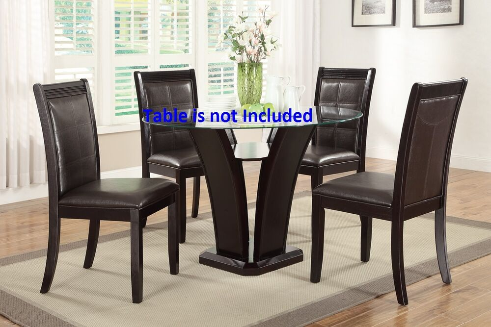 Kitchen dining room dining chairs set dark brown for Brown leather dining room chairs