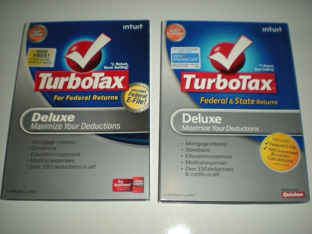 Turbotax 2008 Deluxe (Federal only) with 2009 Deluxe ...